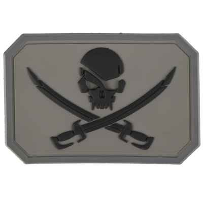 Paintball / Airsoft PVC Velcro Patch (Pirata, gris) | Paintball Sports