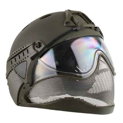 WarQ Fullface Airsoft Hard Hat (OLIV) | Paintball Sports