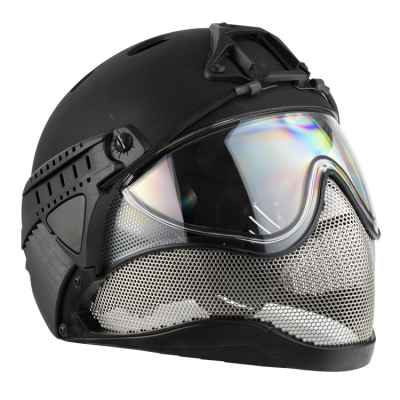 WarQ Fullface Airsoft Hard Hat (NEGRO) | Paintball Sports