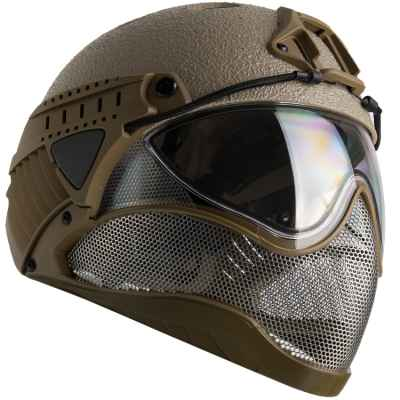 Sombrero duro WarQ Fullface Airsoft (RAPTOR-Tan) | Paintball Sports