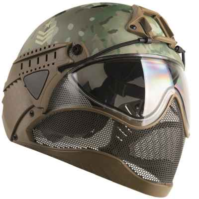 WarQ Fullface Airsoft Safety Helmet (Edición especial MULTICAM) | Paintball Sports
